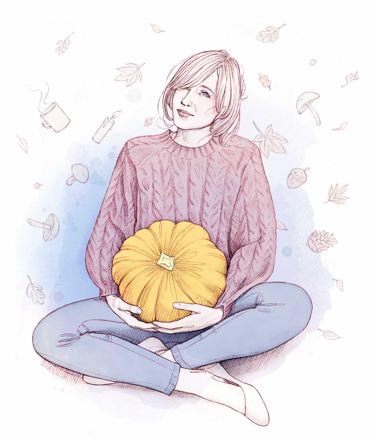 femme accroupie avec une citrouille