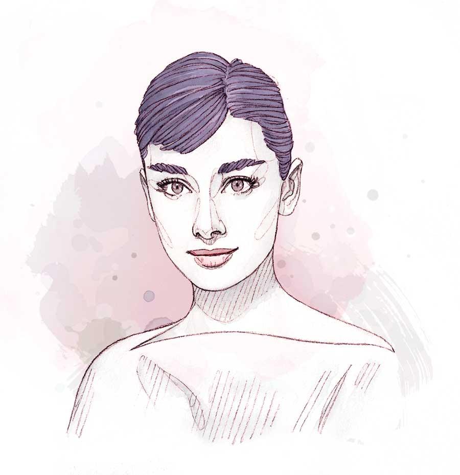 Portrait d'Audrey Hepburn miniature