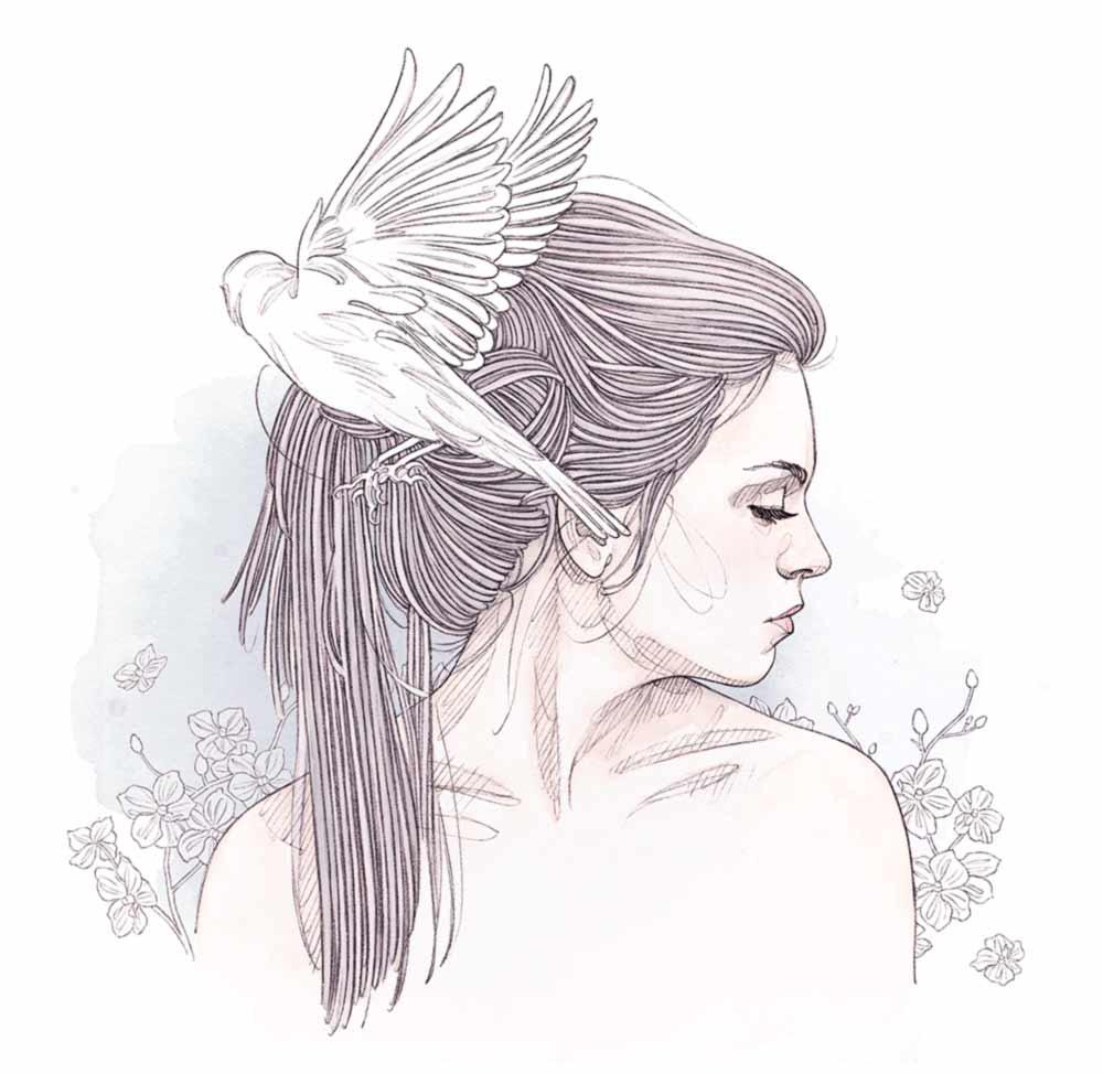 femme orchidées et oiseau