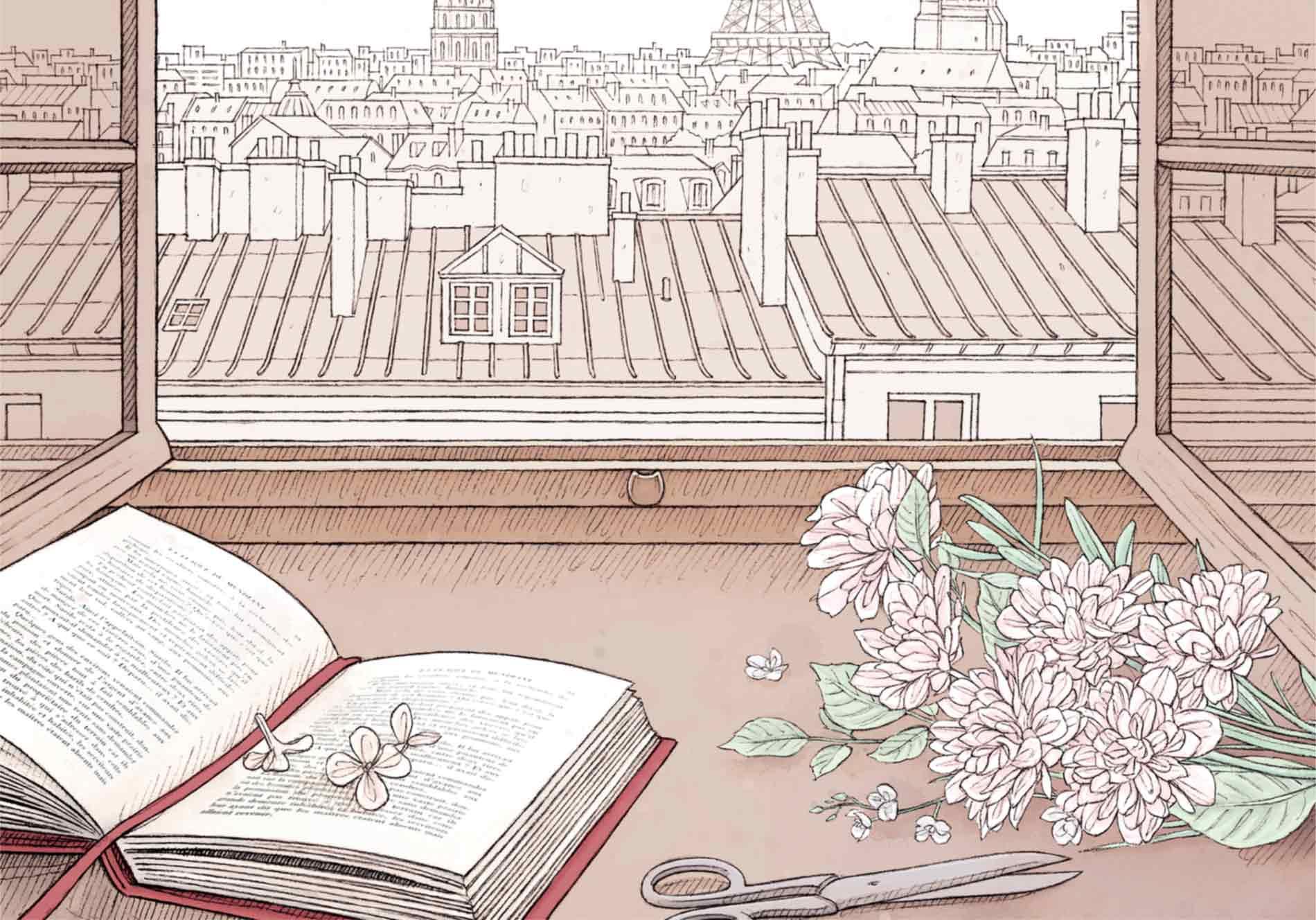 bouquet de fleurs, livre ouvert et encadrement de fenêtre