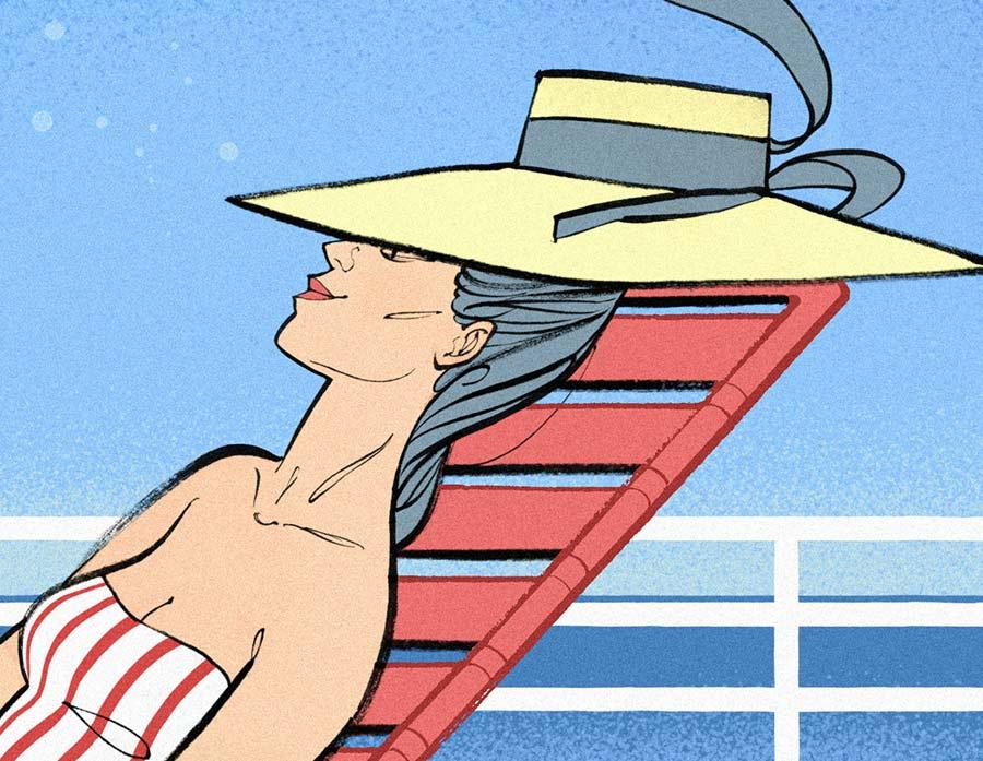 Femme de profil avec un chapeau bronzant sur un transat