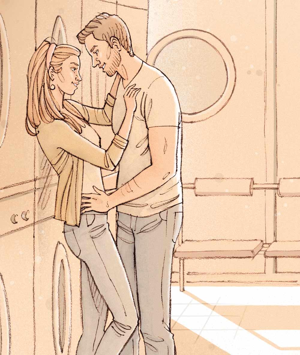 Couple dans un lavomatik