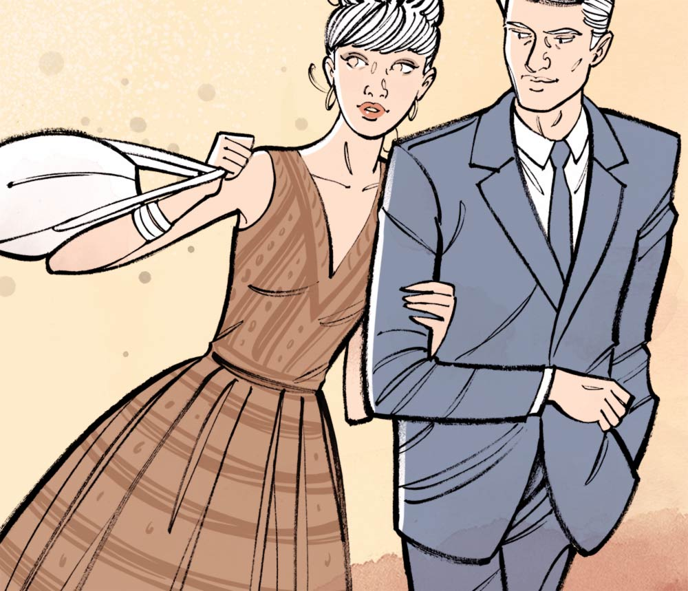 Couple d'amoureux se promenant