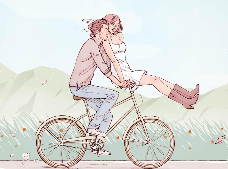 Couple d'amoureux sur une bicyclette