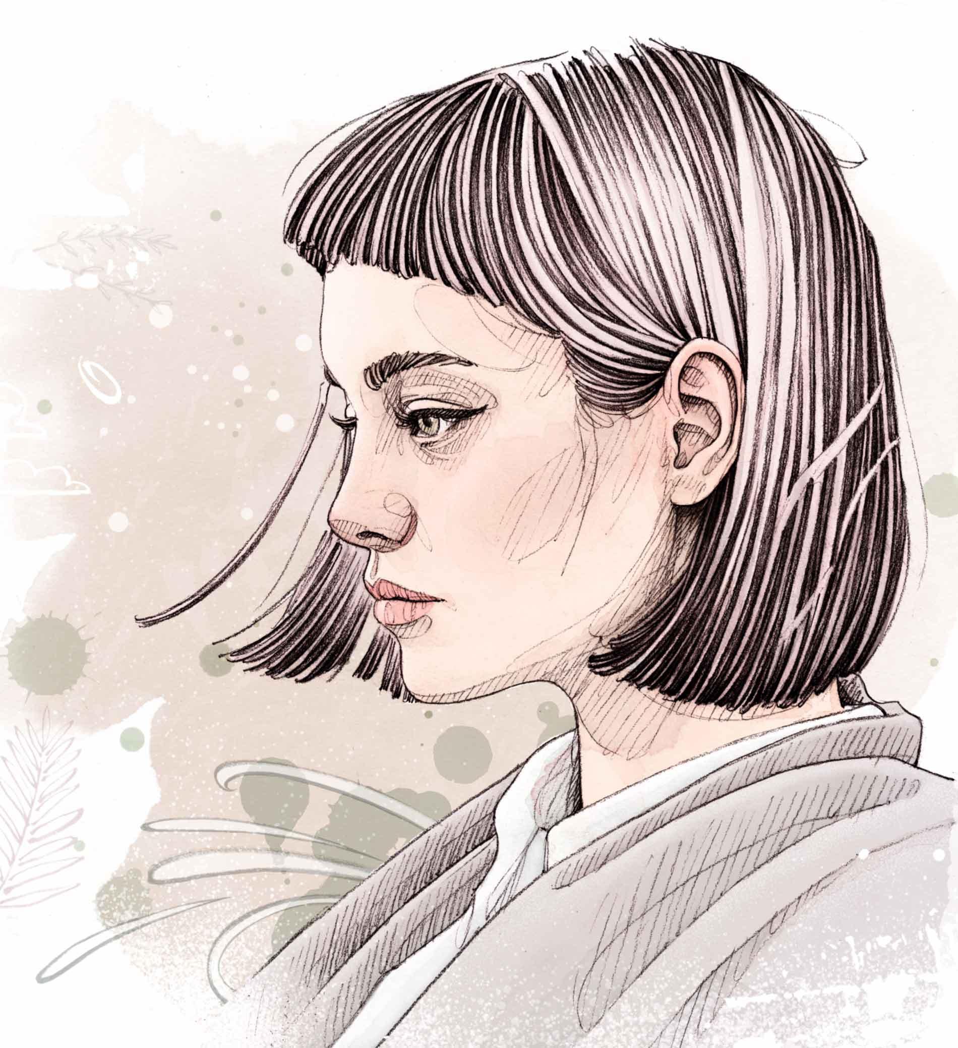 Visage de femme de profil avec une frange
