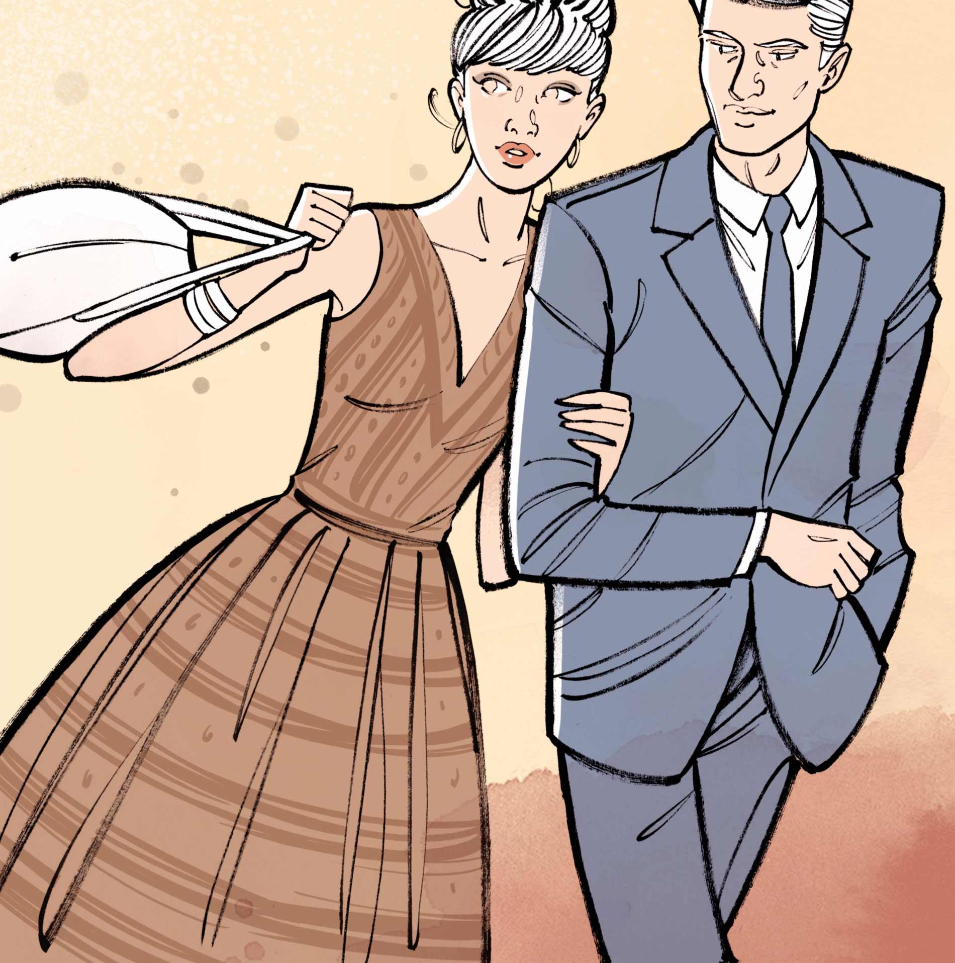 Couple se tenant par le bras