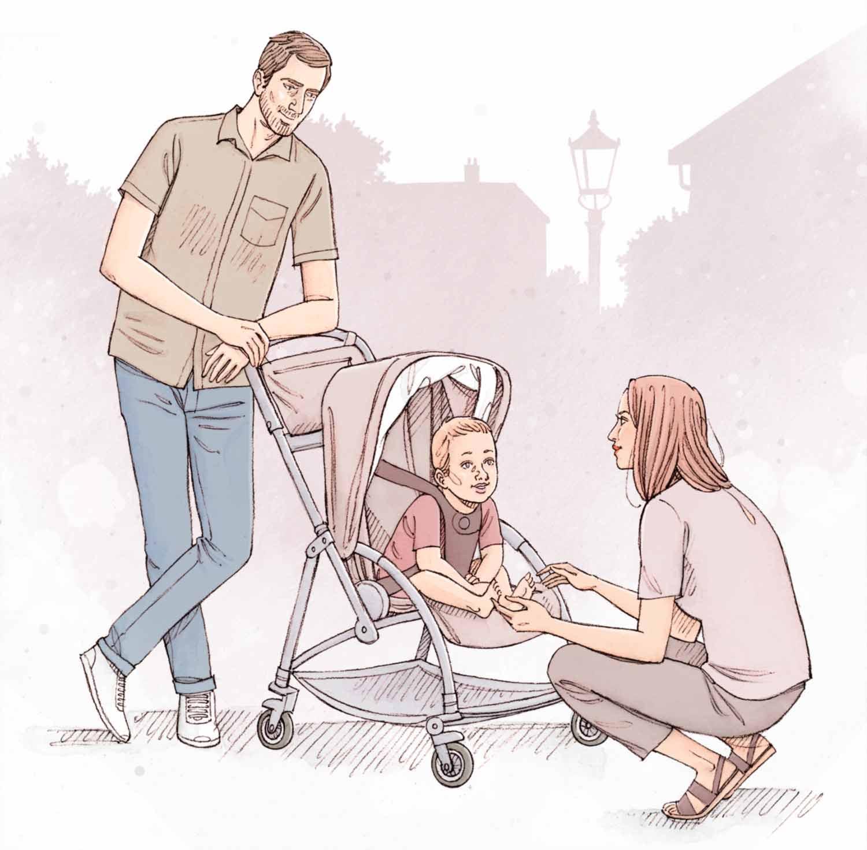 Couple d'amoureux avec leur enfant dans une poussette