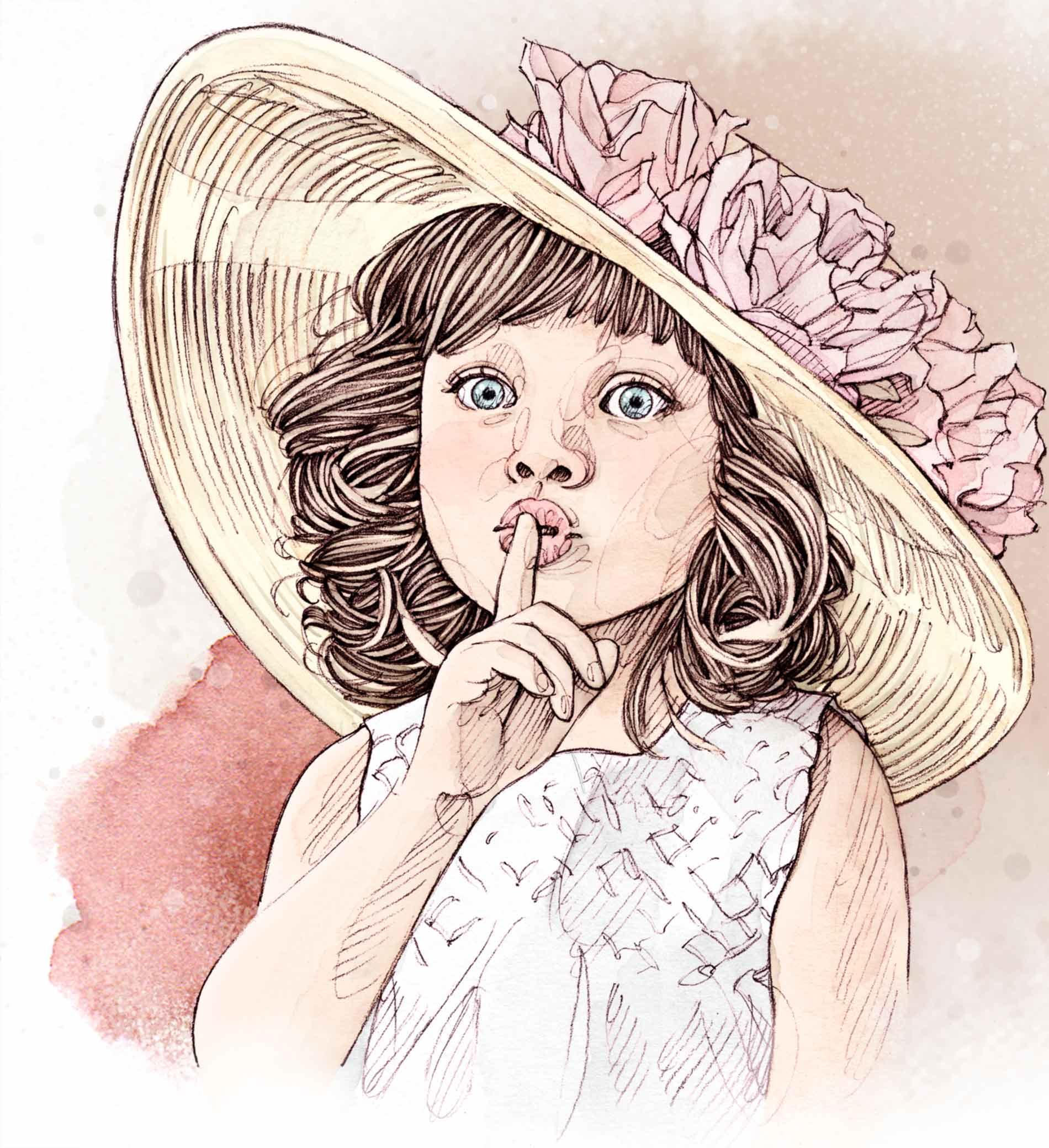 Petite fille au chapeau de roses faisant signe de se taire