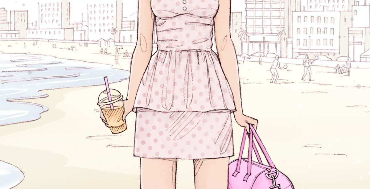 Femme à la plage avec boisson et sac