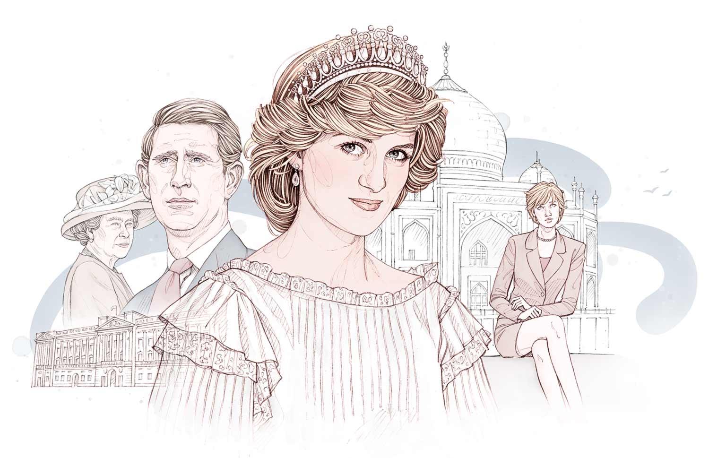 Portait de Lady Di et famille royale