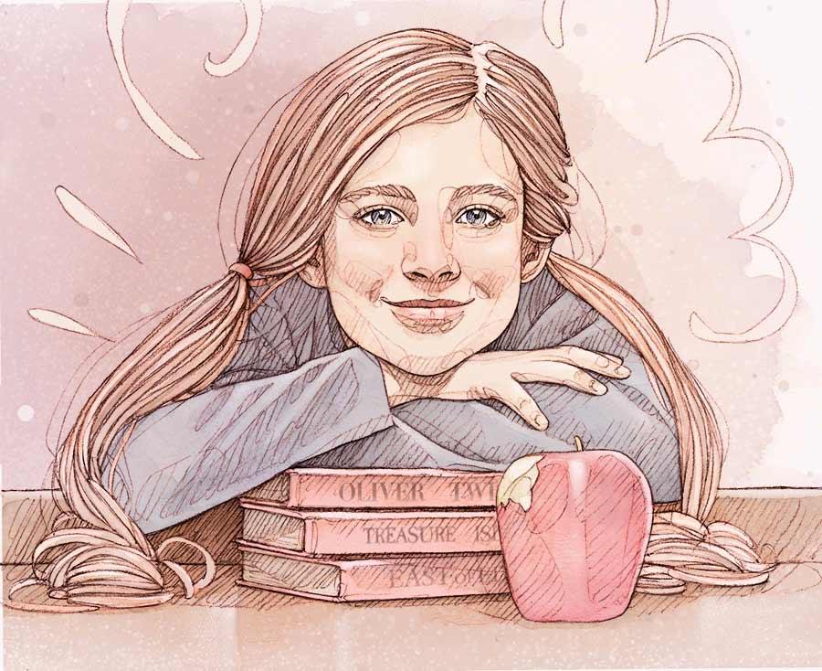 Enfant gracieuse à un bureau, appuyée sur une pile de livres