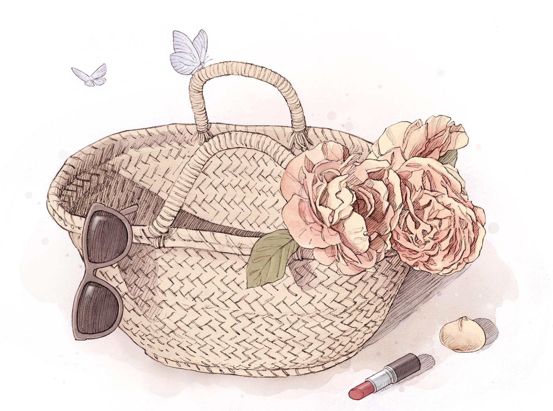 Panier fleuri et papillons