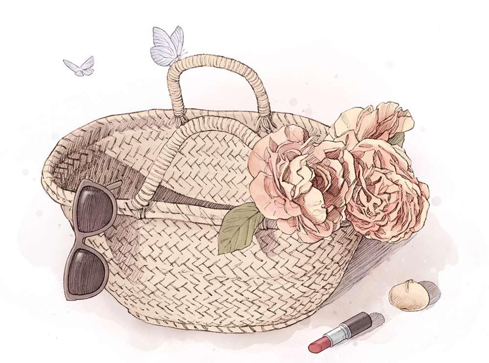 Panier avec rose rouge à lèvres et lunettes de soleil