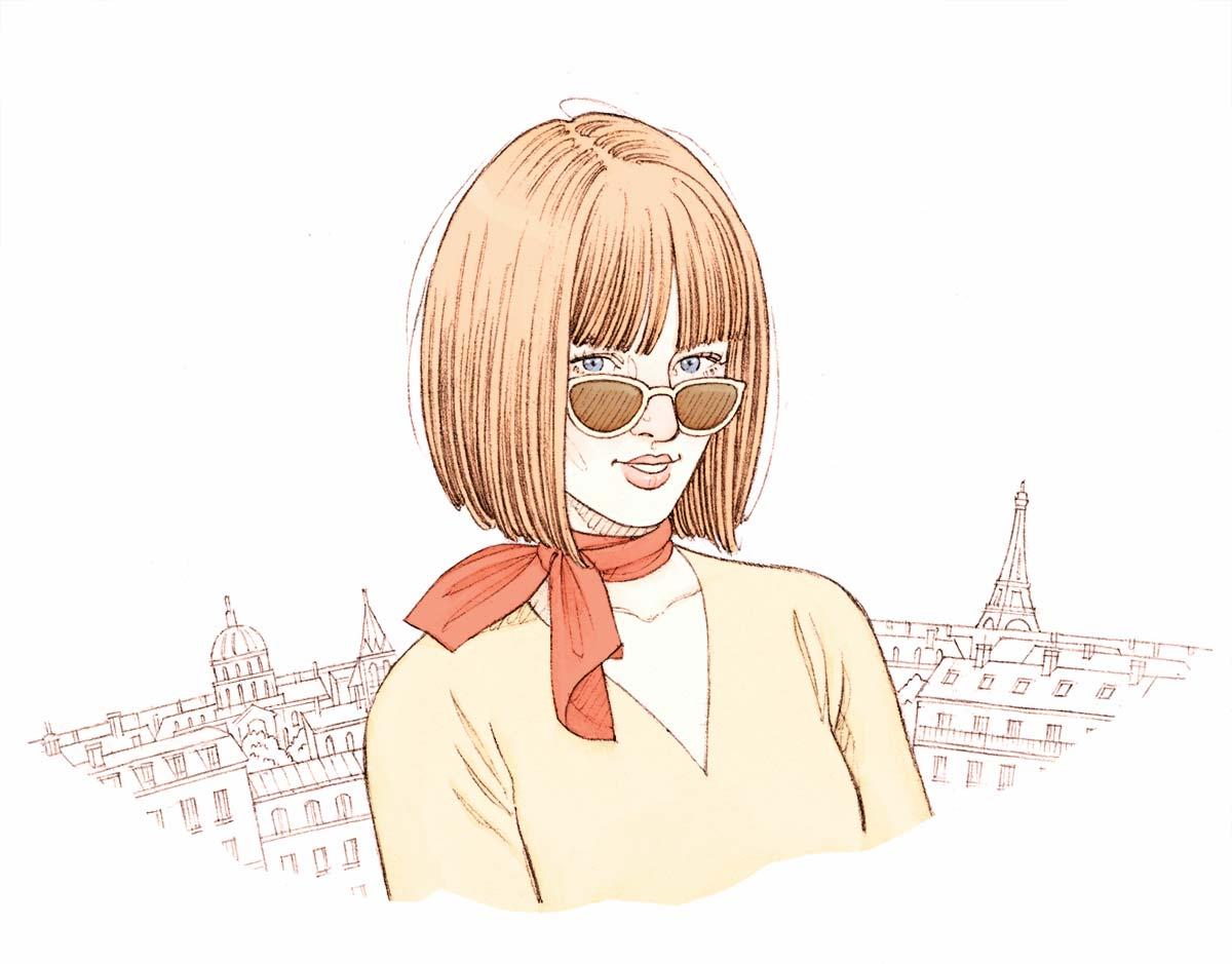 Portrait féminin avec Paris en arrière plan