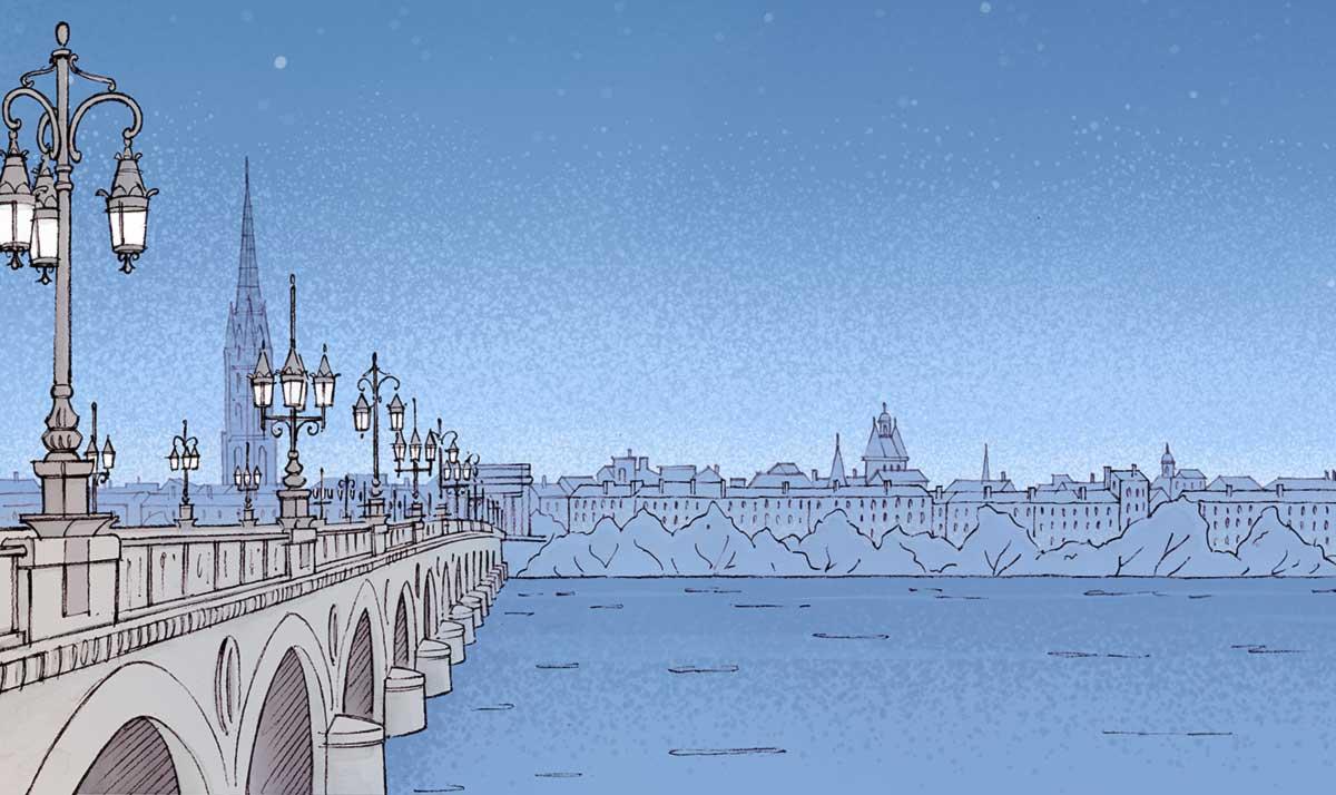 Vue nocturne sur le Pont de Pierre de Bordeaux
