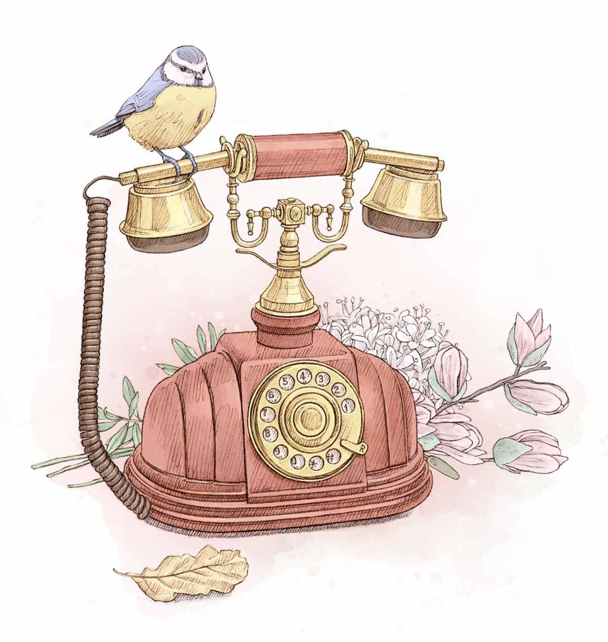 Téléphone ancien avec un petit oiseau perché